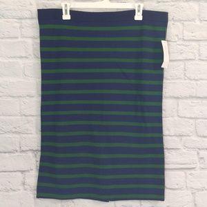 Ann Taylor   Navy & Green Pencil Skirt